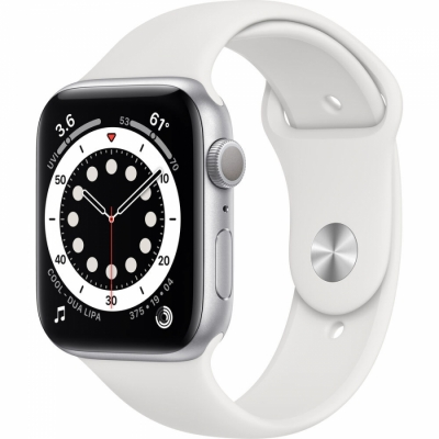 Apple Watch Serie 6 Gps 44 Mm White Sport Band Aluminium Silver